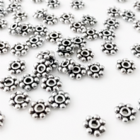 100 Tibetan Silver 7x1mm Daisy Spacer Beads